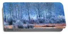 Portable Battery Charger featuring the digital art Frosty Morning At The Marsh Photo Art by Sharon Talson
