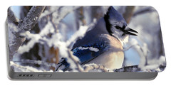 Frosty Morning Blue Jay Portable Battery Charger