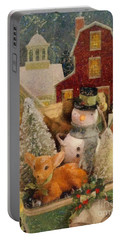 Portable Battery Charger featuring the painting Frosty The Snowman by Mo T