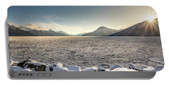 Frozen Fjord Sunrise Portable Battery Charger