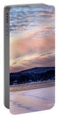 Frozen Lake Sunset In Wilton Maine  -78096-78097 Portable Battery Charger