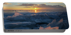 Frozen Sevan Lake And Icicles At Sunset, Armenia Portable Battery Charger