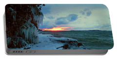 Frozen Sunset In Cape Vincent Portable Battery Charger