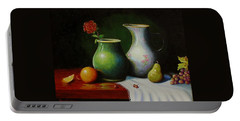 Portable Battery Charger featuring the painting Fruit And Pots. by Gene Gregory