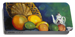 Portable Battery Charger featuring the painting Fruit On Doily by Marlene Book