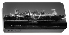 Ft. Worth Texas Skyline Dusk Black And White Portable Battery Charger
