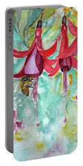 Portable Battery Charger featuring the painting  Fuchsia by Jasna Dragun