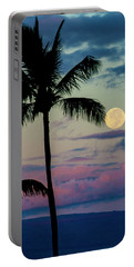 Full Moon And Palm Trees Portable Battery Charger