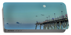 Full Moon At Kure Beach Pier Portable Battery Charger by Phil Mancuso