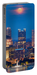 Portable Battery Charger featuring the photograph Full Moon At  Pittsburgh  by Emmanuel Panagiotakis