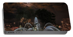 Full Moon At The Fountain Portable Battery Charger