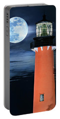 Full Moon Closeup Next To Jupiter Lighthouse In Florida Portable Battery Charger