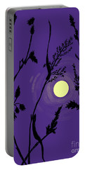 Full Moon In The Wild Grass Portable Battery Charger