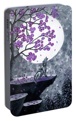 Portable Battery Charger featuring the painting Full Moon Magic by Teresa Wing