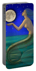 Full Moon Mermaid Portable Battery Charger by Sue Halstenberg