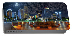 Full Moon Over Bayfront Park In Downtown Miami Portable Battery Charger