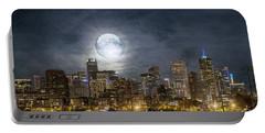 Full Moon Over Denver Portable Battery Charger
