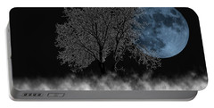 Full Moon Over Iced Tree Portable Battery Charger