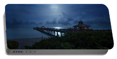 Full Moon Over Juno Beach Pier Portable Battery Charger