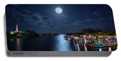 Full Moon Over Jupiter Lighthouse And Inlet In Florida Portable Battery Charger