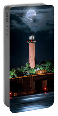 Full Moon Over Jupiter Lighthouse On Christmas Night 2015 Portable Battery Charger