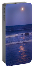 Full Moon Over The Ocean Portable Battery Charger