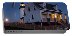 Full Moon Rise At Pemaquid Light, Bristol, Maine -150858 Portable Battery Charger by John Bald