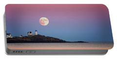Full Moon Rising At Nubble Light Portable Battery Charger