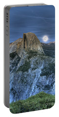 Full Moon Rising Behind Half Dome Portable Battery Charger by Jim And Emily Bush