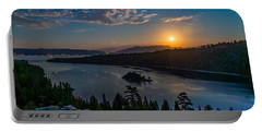 Full Moon Rising On Emerald Bay Portable Battery Charger