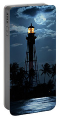 Full Moon Rising Over Hillsboro Lighthouse In Pompano Beach Florida Portable Battery Charger