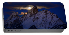 Full Moon Sets Over The Grand Teton Portable Battery Charger