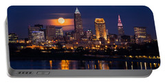 Full Moonrise Over Cleveland Portable Battery Charger