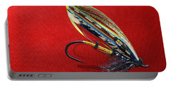 Fully Dressed Salmon Fly On Red Portable Battery Charger