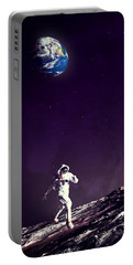 Portable Battery Charger featuring the digital art Fun On The Moon by Methune Hively