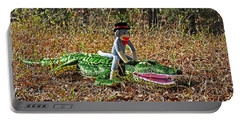 Portable Battery Charger featuring the photograph Funky Monkey - Reptile Rider by Al Powell Photography USA