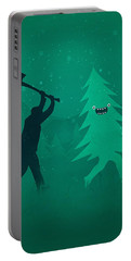 Funny Cartoon Christmas Tree Is Chased By Lumberjack Run Forrest Run Portable Battery Charger
