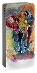 Portable Battery Charger featuring the painting Funny Elephant by Kovacs Anna Brigitta