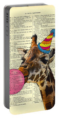 Funny Giraffe, Dictionary Art Portable Battery Charger