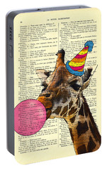Funny Giraffe, Dictionary Art Portable Battery Charger by Madame Memento
