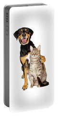 Funny Photo Of Dog With Arm Around Cat Portable Battery Charger