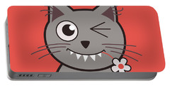 Funny Winking Cartoon Kitty Cat Portable Battery Charger