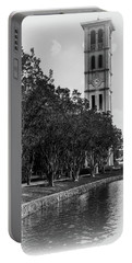 Furman University Bell Tower Greenville South Carolina Black And White Portable Battery Charger