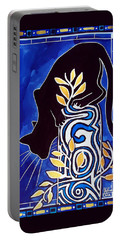 Portable Battery Charger featuring the painting G Is For Gato - Cat Art With Letter G By Dora Hathazi Mendes by Dora Hathazi Mendes