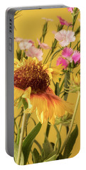 Gaillardia And Dianthus Portable Battery Charger by Richard Rizzo