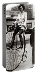 Gal On A Velocipede - Chicago 1922 Portable Battery Charger