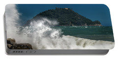 Gallinara Island Seastorm - Mareggiata All'isola Gallinara Portable Battery Charger