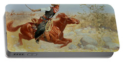 Galloping Horseman Portable Battery Charger by Frederic Remington