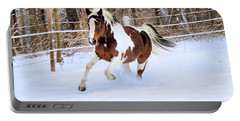 Galloping In The Snow Portable Battery Charger by Elizabeth Dow