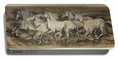 Portable Battery Charger featuring the drawing Galloping Stallions by Debora Cardaci